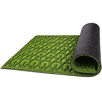Amor Home Front Door Mat Shoe Scraper Artificial Turf Grass Welcome Indoor Outdoor Rug, 17x30, Green