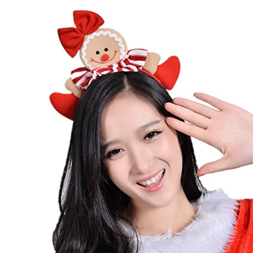 WINZIK Christmas Headwear Gingerbread Man Striped Bowknot Hair Hoop Cute Headband Xmas Holiday Party Supplies Gifts (1#) ()