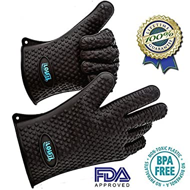 LovIT Scientific The Best Heat Resistant Silicone Gloves for the Grill, Stove and Oven Original Lovit Scientific - No-slip Oven Mitts - More Effective Than Pot Holders and Hot Pads - 3 Sizes