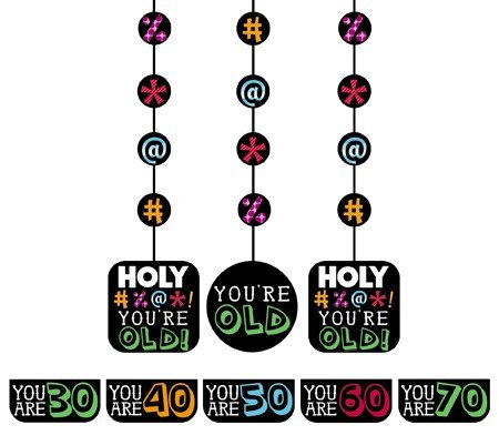 """UPC 762152948639, Club Pack of 18 Multi-Color Holy Bleep """"You're Old"""" Hanging Cutouts w/Stickers Party Decorations 36"""""""