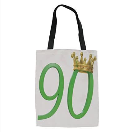 IPrint 90th Birthday Decorations3D Style Design Number Ninety Queen Crown Celebration PrintYellow