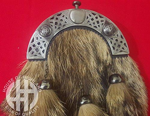 [해외]스코틀랜드 고원 여우 모피 킬트 전체 드레스 Sporrans 체인 & amp; /Scottish Highland Fox Fur Kilt Full Dress Sporrans with Chain & Belt