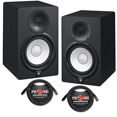 Yamaha HS7 Powered Studio Monitors Pair Black w/ XLR Cables - Bundle by Yamaha