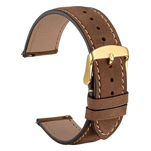 - WOCCI 22mm Watch Band Quick Release,Suede Vintage Leather Watch Strap Dark Brown/Contrasting Stitching with Gold Buckle