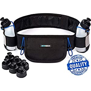 Running Belt - Hydration Belt - Water Belt with 2 BPA Free 9 OZ Bottles - Fuel Belt Fits All Smartphones - Reflective Waterproof Running Gear - Men or Women Runners Belt - Waist Pouch - Fanny Pack