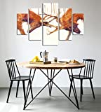 LaModaHome Decorative 100% MDF Wall Art 5 Panels (36'' x 22'' Total) Ready to Hang Painting Deer Horn Animal Africa Wildlife Fight Wrestling