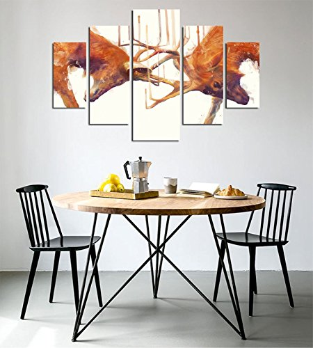 LaModaHome Decorative 100% MDF Wall Art 5 Panels (36'' x 22'' Total) Ready to Hang Painting Deer Horn Animal Africa Wildlife Fight Wrestling by LaModaHome