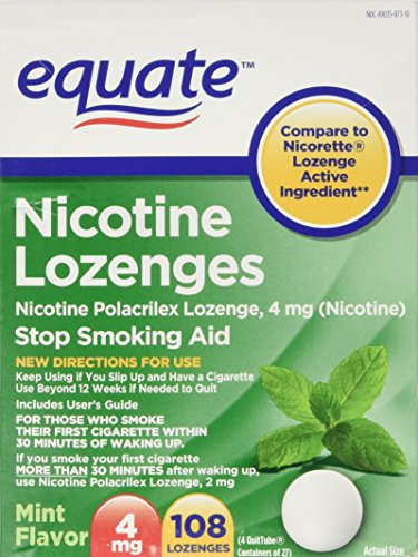 - Equate - Nicotine Lozenge 4 mg, Stop Smoking Aid, Mint Flavor, 108 Lozenges