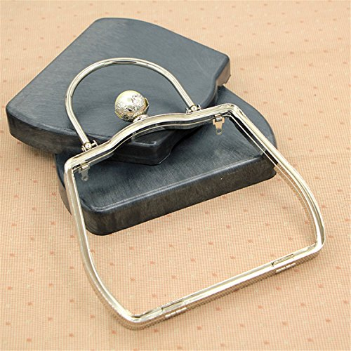 Ownstyle 18cm Metal Purse Frame with Handle Pearl Clasp with Plastic Box Metal Clutch Box Purse Frame DIY Accessories Silver Color ()