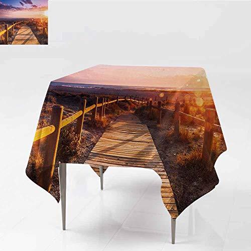 Diycon Easy Care Tablecloth Landscape Sunset with Clouds in Cabo de Gata Nijar Natural Park Bridge Way with Fences Multicolor Party W54 xL54