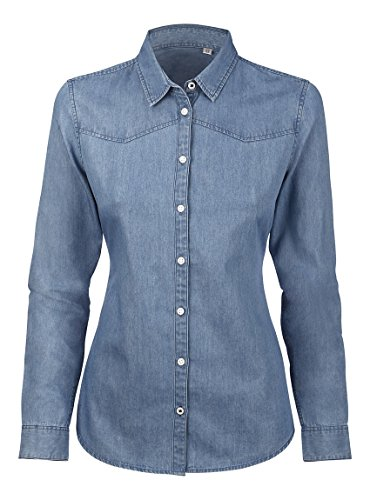 Denim Maniche Lunghe Stone Lavaggio Bio Casual Vintage Made Fit Slim Donna In Camicia 8p11wBq