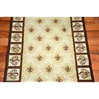 Beige Fleur-De-Lys Carpet Runner Rug 31W - Purchase By the Linear Foot