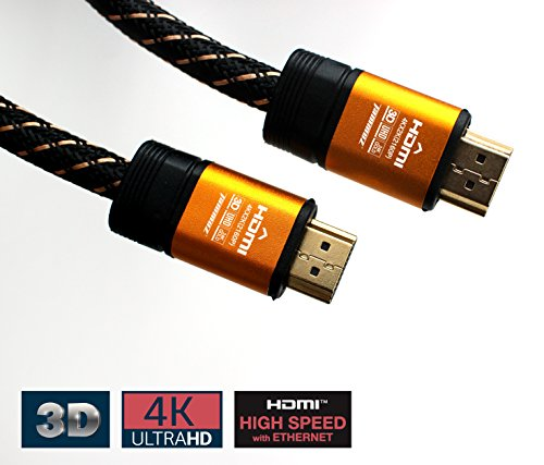 Tammuz Premium Gold Plated 4K HDMI 2.0 3D Cable(32ft), Ethernet(HEC), Audio Return System(ARC), Realiable & Sturdy & Flexible Nylon PVC, 4:4:4, 28 AWG, Home Theater, Gaming, Audio Etc. (32ft) by Tammuz