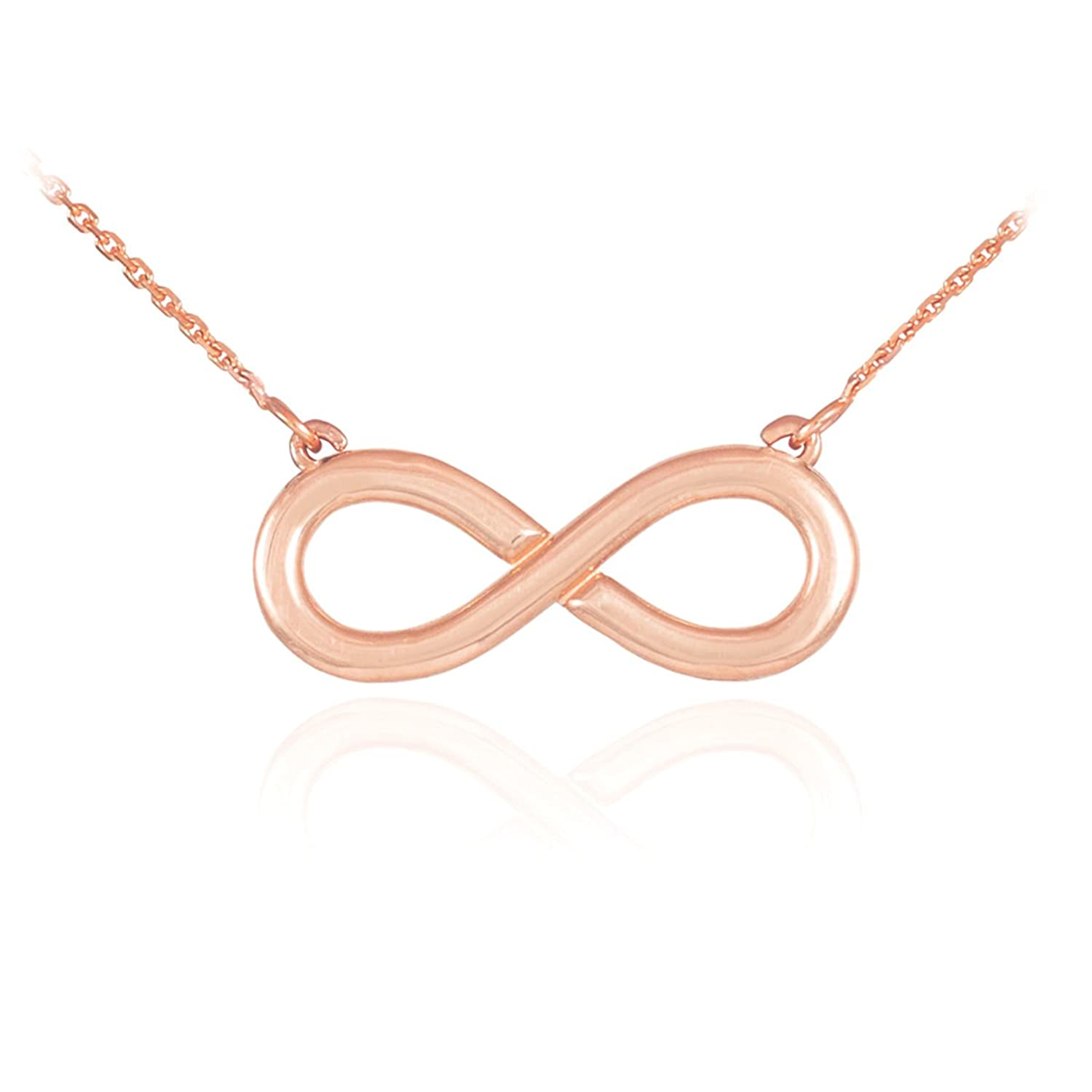 Amazon 14k Polished Solid Rose Gold Infinity Pendant Necklace