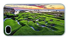 Hipster customized iPhone 4 covers green moss beach PC White for Apple iPhone 4/4S