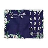 Sobilar Floral Milestone Blanket - Blue Baby Girl Month Blanket Dark with Watercolor Flowers -Newborn Photography Backdrop -Personalized Shower Gift (50x60)