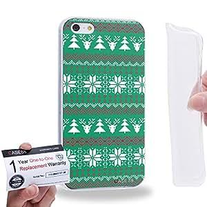 Case88 [Apple iPhone 5 / 5s] Gel TPU Carcasa/Funda & Tarjeta de garantía - Art Fair Isle Winter Prints Turquoise Green 1552