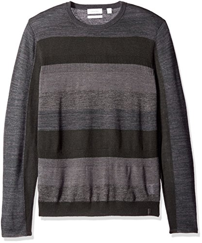 Calvin Klein Men's Merino Ribbed Stripe Crew Neck Sweater, Black, Small