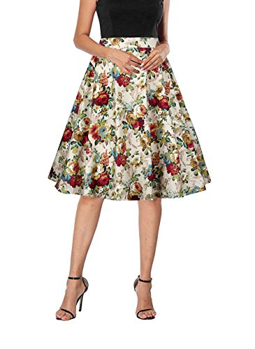 Yanmei Women's Pinup Style Floral Print Casual Dress 40s 60s Party Swing Skirt Beige Large 1086-3