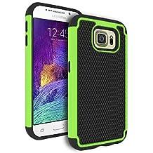 Galaxy S6 Case, Bastex Heavy Duty Hybrid Armor Case - Soft Black Silicone Cover Hard Neon Green & Black Case for Samsung Galaxy S6 G920