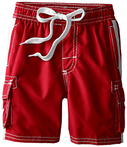 Kanu Surf Toddler Boys' Barracuda Quick Dry Beach Swim Trunk, Red, 3T