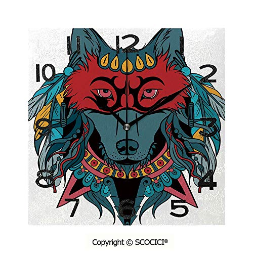(SCOCICI Frameless Clock 3D DIY Decorative Clock Ethnic Warrior Wolf Portrait with Mask Feathers Native American Animal Art 8 Inch Large Size Square Wall Clock for Living Room Bedroom Office)