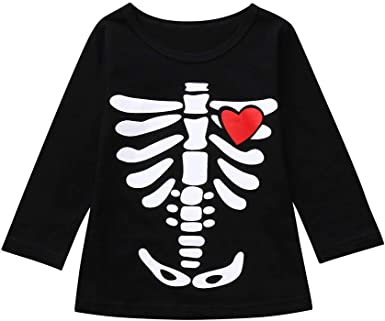 MAYOGO Disfraz Halloween Niño Camiseta Calaveras Manga Larga de 2 ...