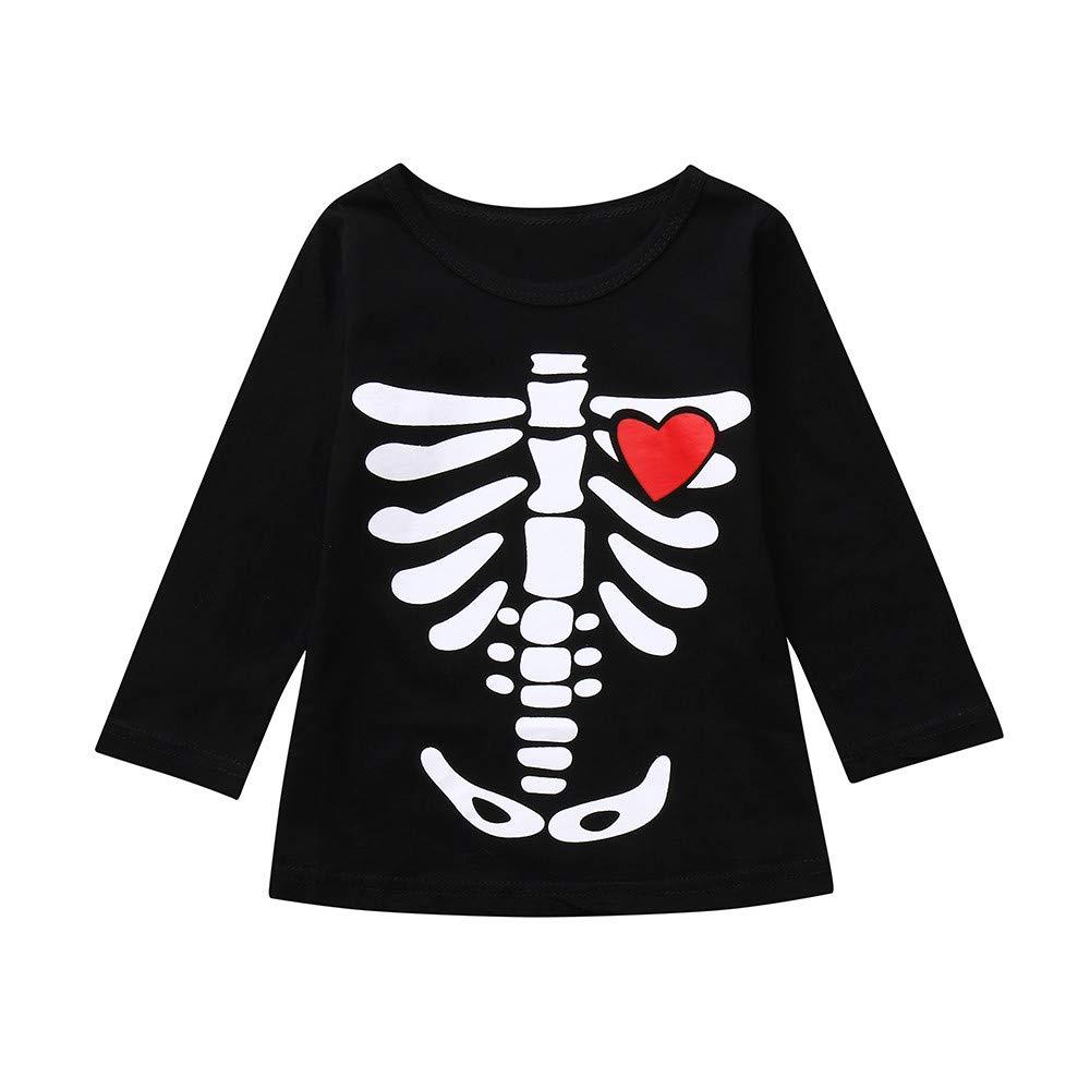 Robemon Child Kids Costume Baby Girls Toddler Infants Boys Skeleton Print Tops Halloween Costume Outfits Set