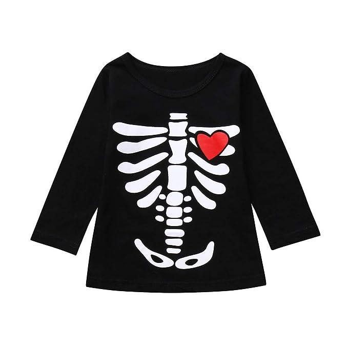 MAYOGO Disfraz Halloween Niño Camiseta Calaveras Manga Larga ...