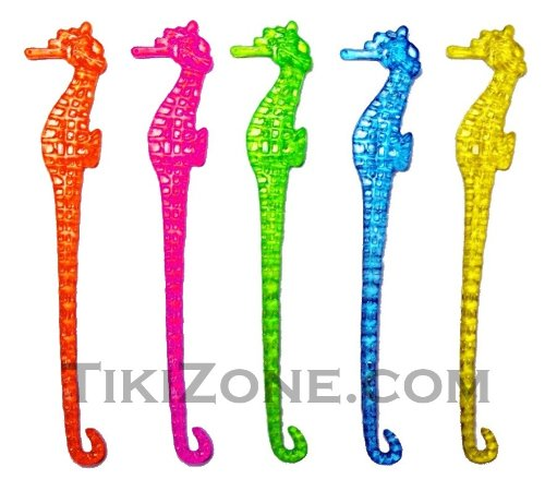 25 Multi Colored Seahorse Party Swizzles - Nautical Cocktail Stirrers