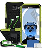Samsung Galaxy A5 (2016) SM-A510F Green Shock Proof Rugged Hard Case with Viewing Stand - LCD Screen Protector - Retractable Mini Stylus Pen - 3.5mm ZIPPER Stereo Hands Free HeadPhones with Mic