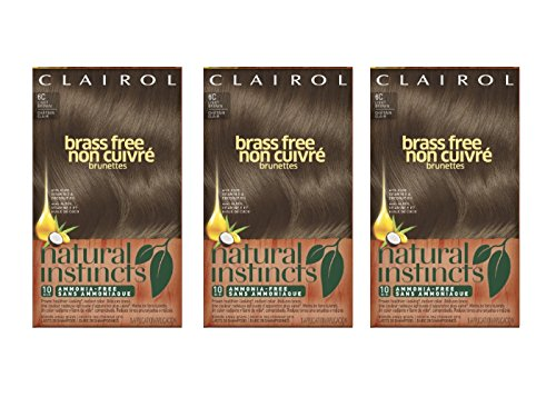 Clairol Natural Instincts Semi-Permanent Hair Color Kit, 3 Pack, 6C Brass Free Light Brown Color, Ammonia Free, Long Lasting for 28 Shampoos