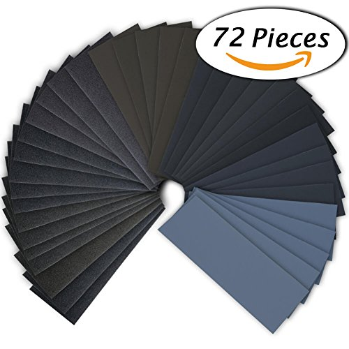 72Pcs 400 to 3000 Grit Wet Dry Sandpaper Assortment 9 x 3.6 Inches for Automotive Sanding, Wood Furniture Finishing And Wood Turning Finishing