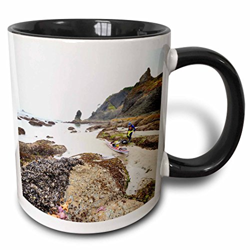 Kayaks Sea Composite - 3dRose 147904_4 Use, Washington, Olympic National Park, Sea Kayak Mug, 11 oz, Black