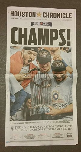 2017 Houston Astros World Series Champions Houston Chronicle Newspaper 11/2/17