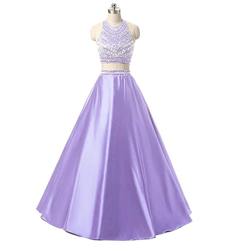 Lavender Aiyue Yishen Satin 2 Pieces Beading Sequins Formal Floor Length Evening Party Dress
