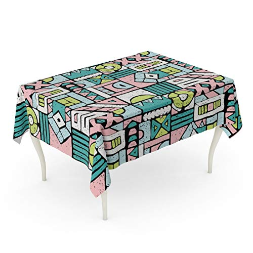 Tarolo Rectangle Tablecloth 60 x 84 Inch Colorful Ancient African Pattern Ethnic Carpet Aztec Figure Tribal Indian Mexican Folk Batik Boho Table Cloth