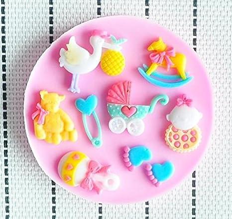 Molde de silicona 3D diseño tematica Baby shower. Para pasta de azucar, fondant, chocolates: Amazon.es: Hogar