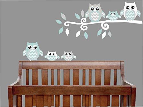 Seafoam Green and Grey Owl Wall Decals/Owl Stickers/Owl Nursery Wall Decor (Seafoam Green and Gray Owl Wall Decals) (Seafoam Green Wall Decor)