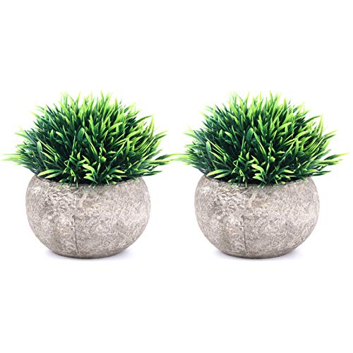 THE BLOOM TIMES 2 Pcs Fake Plants for Bathroom/Home Office Decor, Small Artificial Faux Greenery for House Decorations…