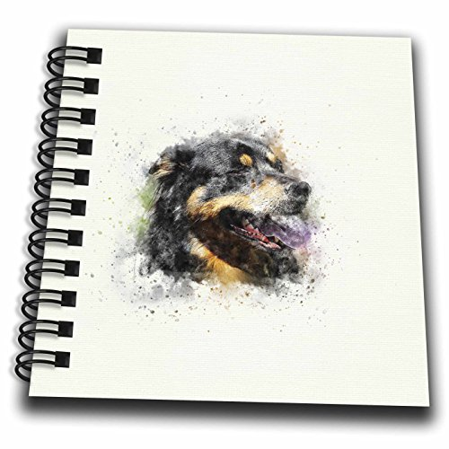 3dRose Uta Naumann Watercolor Illustration Animal - Trendy Cute Animal Dog Watercolor Illustration-Rottweiler - Mini Notepad 4 x 4 inch (Rottweiler Notepad)