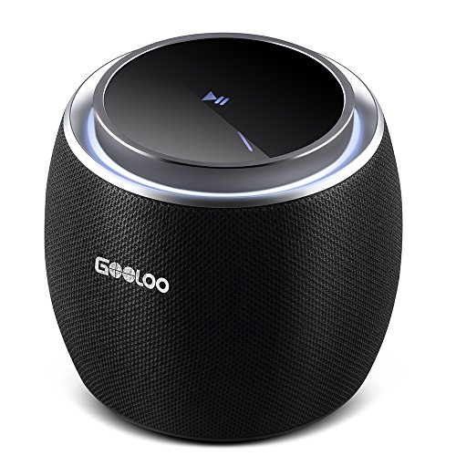 Mini Portable Wireless Speakers, Bluetooth V4.2 5W Driver Ultra Bass Sound, Touch Screen Design Handsfree Calling & Built-in Mic for Home,Travel,Party - Black