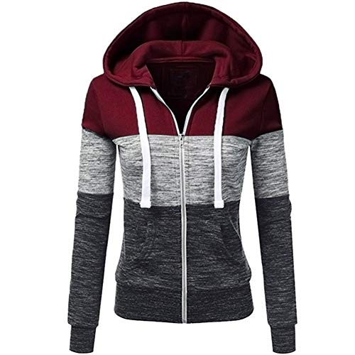 Newbestyle Women's Casual Color Block Jersey Full Zip Fleece Hoodie Jacket with Pocket Wine Red and Black Large