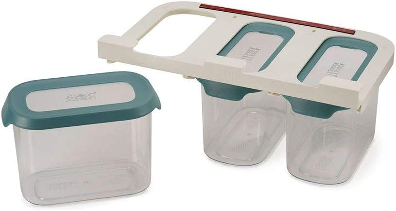 Joseph Joseph CupboardStore Airtight Easy Pour Food Container Set with 3M Tape Undershelf Storage Hanger, 3-Piece Large, Opal