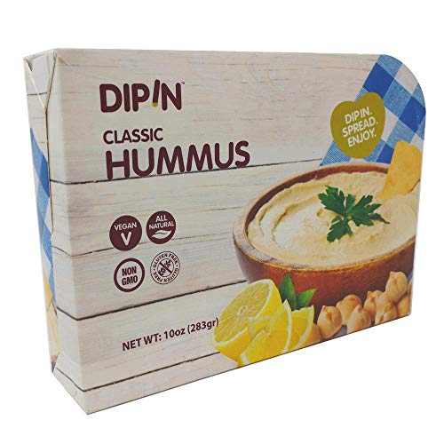 DIPIN - Classic Hummus | All Natural | Vegan | Non - GMO | Gluten Free | Kosher | Healthy Snack | Low Calorie | High Protein |10 oz. 2 Pack
