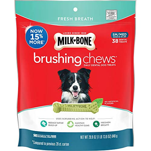 Sm Dog Chew Bone - Milk-Bone Brushing Chews Daily Dental Dog Treats, Fresh Breath, Small-Medium, 29.9 oz Pouch