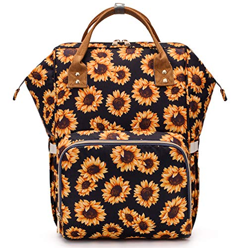 Sunflower Diaper Bag Backpack, Womens Large Waterproof Maternity Baby Nappy Bags