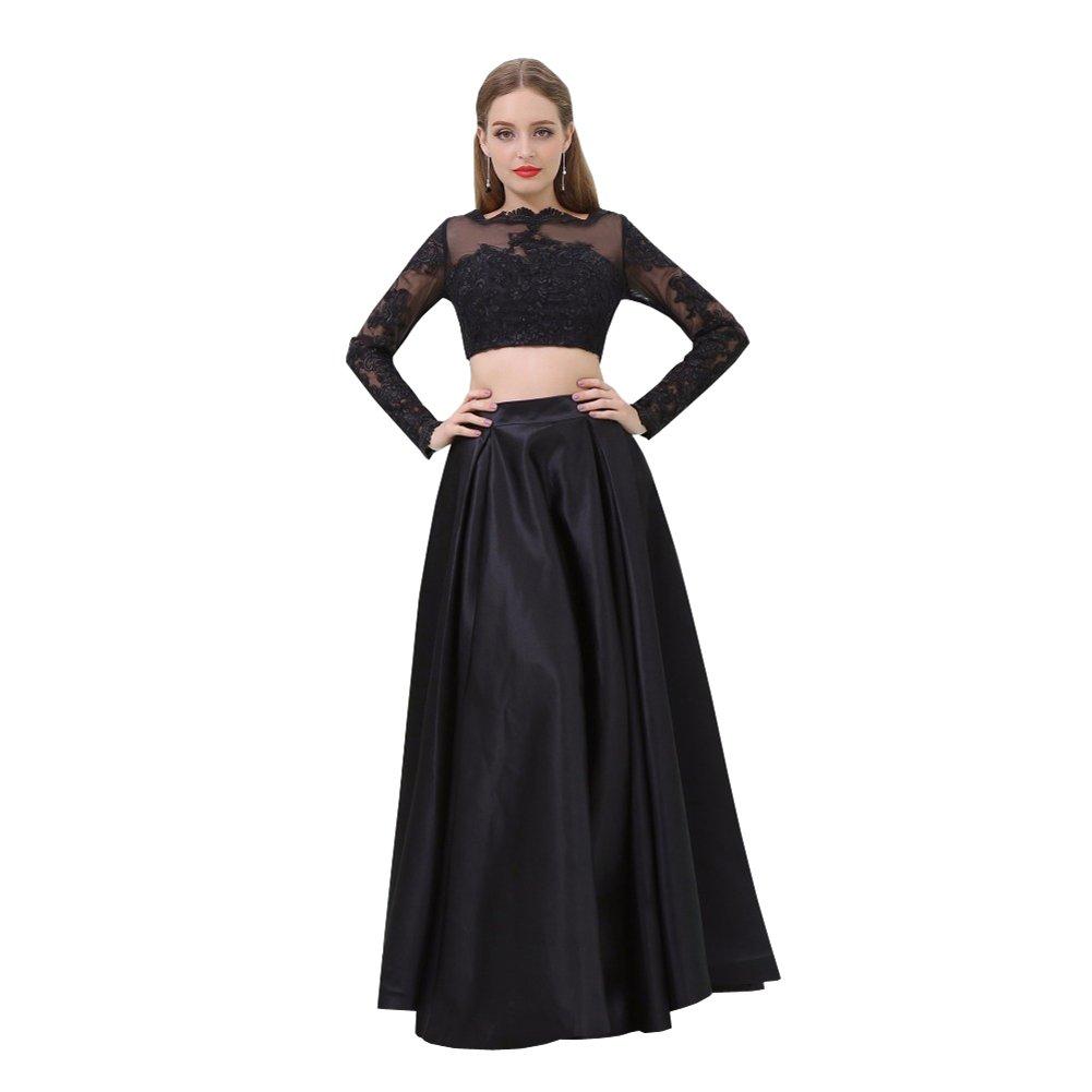 d7d5c5989c3f A Line Bateau Long Sleeve Prom Dress | Saddha