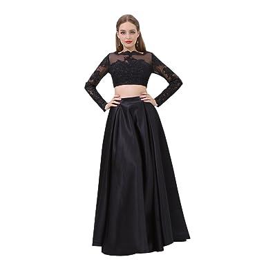 5c3e40d7246762 Sheer Long Sleeve Prom Dresses Two Pieces Lace Applique Satin A-line  Evening Dress Black