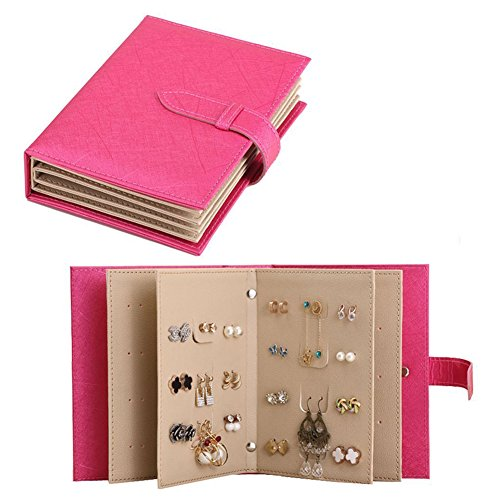 Samfly Earrings Organizer Book Portable Travel Jewelry Holder PU Leather Jewelry Display Box Storage Case (Rose Red)